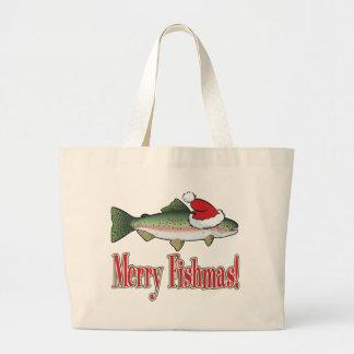 Merry Fishmas Large Tote Bag