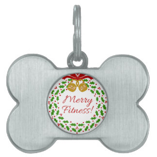 Merry Fitness Christmas Wreath Dog Tag