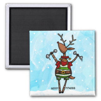 merry fitness reindeer 2 inch square magnet