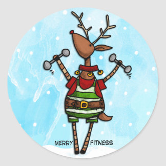 merry fitness reindeer classic round sticker