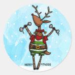 merry fitness reindeer stickers