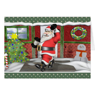 Merry Fitness Santa Dumbells Holiday Card