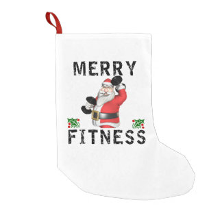 Merry Fitness Weightlifting Santa Stocking