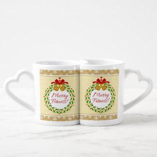 Merry Fitness Wreath Christmas Couples' Mug Set