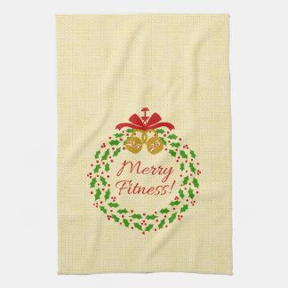 Merry Fitness Wreath Cream Christmas Towel