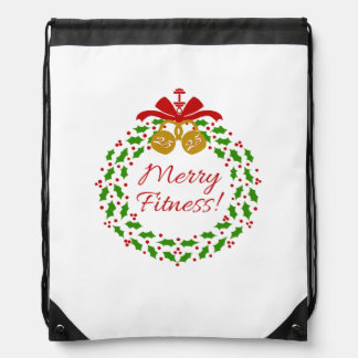 Merry Fitness Wreath Holiday Drawstring Backpack