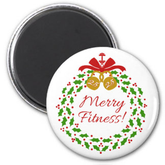 Merry Fitness Wreath Holiday Magnet