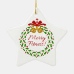 Merry Fitness Wreath Personalized Star Ornament