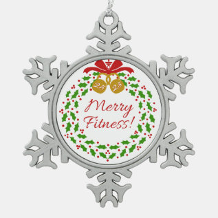 Merry Fitness Wreath Pewter Snowflake Ornament at Zazzle