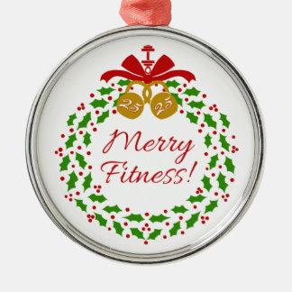 Merry Fitness Wreath Premium Round Ornament