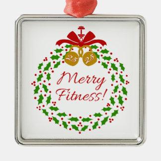 Merry Fitness Wreath Premium Silver Ornament
