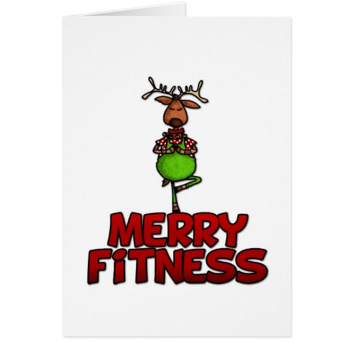 Merry fitness yoga reindeer in tree posture card zazzle