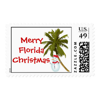 Merry Florida Christmas, snowman under palm Postage Stamps