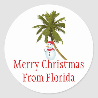 Merry Florida Christmas, snowman under palm tree Classic Round Sticker