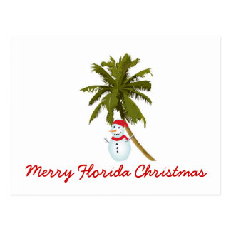 Merry Florida Christmas, Snowman under palm tree Postcard