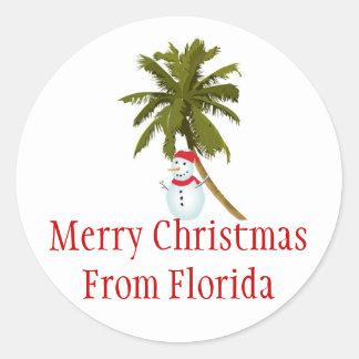 Merry Florida Christmas, snowman under palm tree Classic Round Sticker