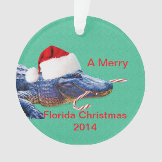 Merry Florida Christmas with Alligator Ornament