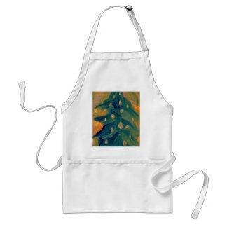 Merry Folk Art Christmas Tree Holiday Decor Adult Apron