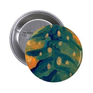 Merry Folk Art Christmas Tree Holiday Decor Pinback Buttons