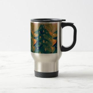Merry Folk Art Christmas Tree Holiday Decor Travel Mug