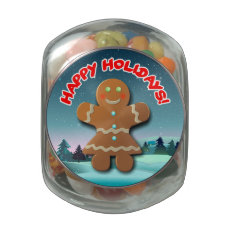 Merry Gingerbread Woman Glass Candy Jars