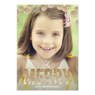Merry Glitter Holiday Photo Cards - Gold