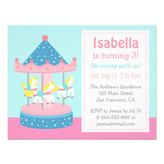 Merry Go Round, Carousel Birthday Party Invitation Custom Invitations