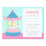 "Merry Go Round, Carousel Birthday Party Invitation 4.25"" X 5.5"" Invitation Card"