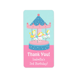 Merry Go Round Carousel Birthday Party Labels