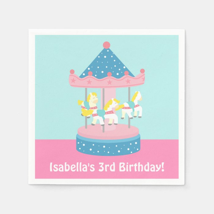 Merry Go Round Carousel Birthday Party Supplies Paper Napkin  Zazzle
