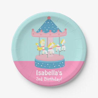 Merry Go Round Carousel Girls Birthday Party Paper Plate