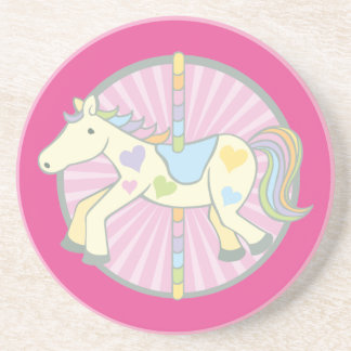 Merry-Go-Round Carousel Pony in Pink Sandstone Coaster
