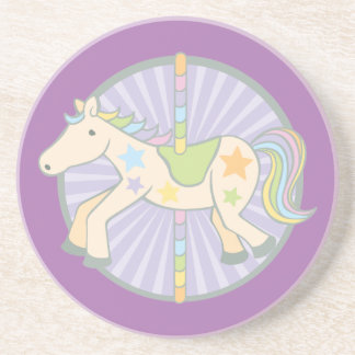 Merry-Go-Round Carousel Pony in Purple Drink Coaster