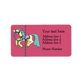 Merry Go Round carousel Pony Address Label
