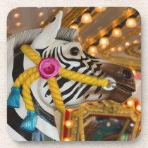 Merry-Go-Round Carousel Ride Zebra Horse Drink Coaster