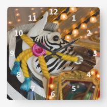 Merry-Go-Round Carousel Ride Zebra Horse Square Wall Clock