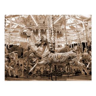 Merry-go-round / Carousel - Sepia Postcard