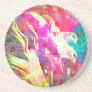 Merry Go Round Horse Digital Art Beverage Coaster
