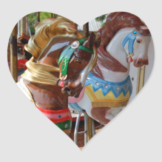 Merry-Go-Round Horses Heart Sticker