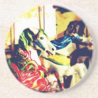 Merry-Go-Round Horses Summer Flashback Digital Art Coasters