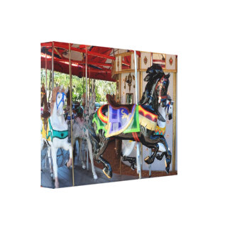 Merry-Go-Round in Motion Stretched Canvas Print