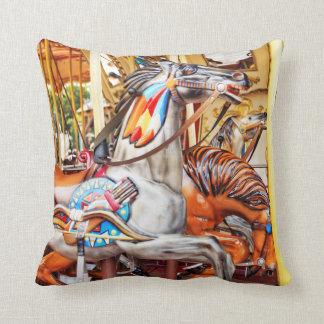Merry-go-round painted pony carousel series 34 throw pillow