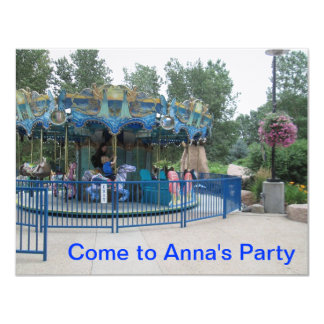 "Merry Go Round Party Invitation 4.25"" X 5.5"" Invitation Card"