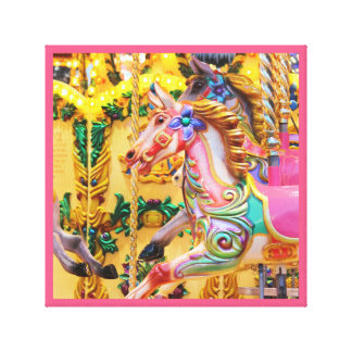Merry-go-round pink horses carnival series 37 canvas print