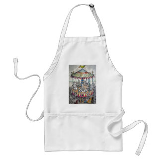 Merry-go-round with clowns aprons