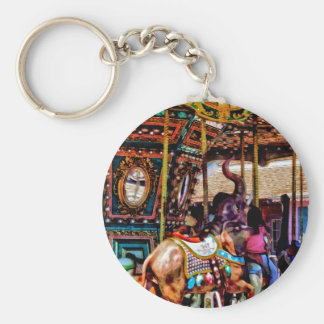 Merry Go Round With Elephants Basic Round Button Keychain