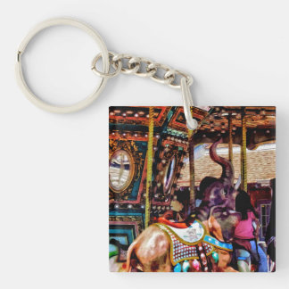 Merry Go Round With Elephants Double-Sided Square Acrylic Keychain