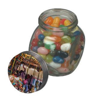 Merry Go Round With Elephants Glass Candy Jars