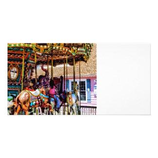 Merry Go Round With Elephants Photo Card