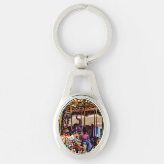 Merry Go Round With Elephants Silver-Colored Oval Metal Keychain